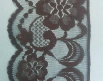 """Black Floral Scalloped Lace trim 3"""""""