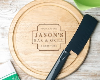 His Personalised Wood Round Kitchen Board