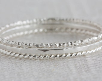Set of Three Sterling Silver Textured Stack Rings