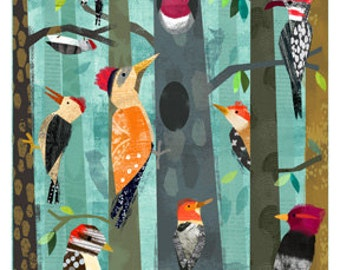 Woodpeckers print 11x14  Archival Print - art poster - wall decor - children's wall art - nursery poster