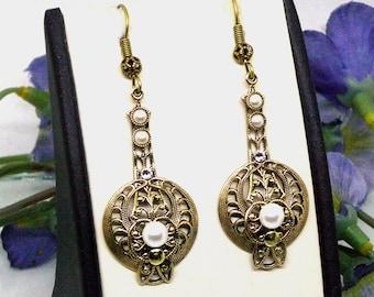 Art Deco Earrings Drop Antique Gold Earrings White Pearl Earrings Dangle Earrings Edwardian Jewelry Art Nouveau Earrings Filigree Earrings