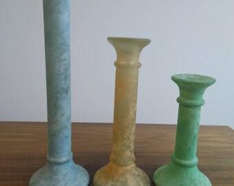 Glass candelabra pastel shades. * Vintage