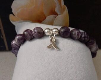 AAA+ Chevron Amethyst Cancer Survivor Bracelet