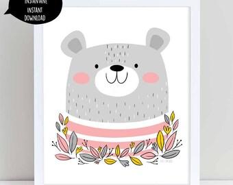 bear illustration, bear art, bear art print, bear wall art, bear wall decor, nursery wall art, woodland art, printable wall art, bear print