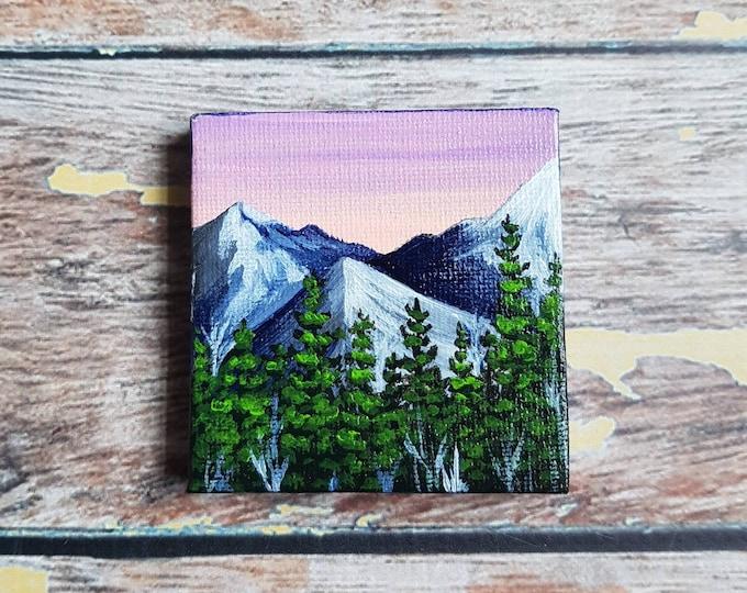 "Miniature Mountain Painting | Magnetic Canvas Original Art | Landscape Painting | Mountain Art | Mountainscape | Fridge Magnet | 2.5x2.5"""