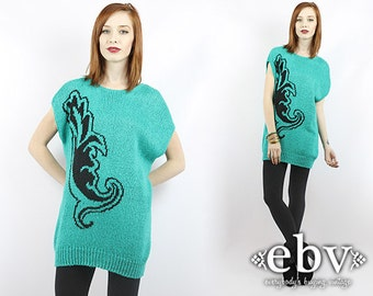 Sweater Dress 1980s Sweater 80s Sweater Vintage 80s Sweater Dress S M Oversized Sweater Oversized Knit Sweater Mini Dress Long Sweater