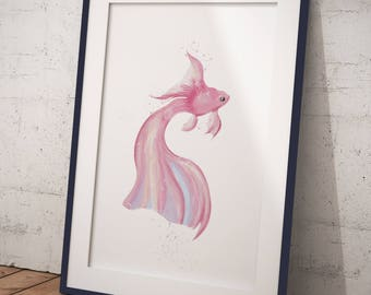 Koi fish Pink / Digital Painting Print / Wall Art /