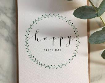 Happy Birthday Card || Wreath Design
