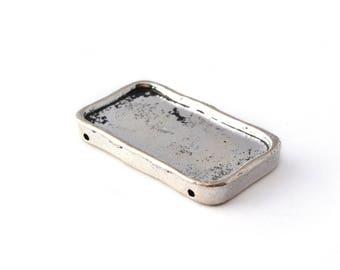 Pendentif connecteur rectangle argent antique 34x19mm en métal