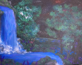 Waterfall painting, nighttime, forest, flowers