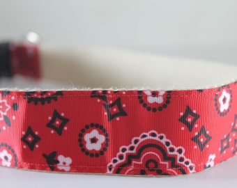 Red Bandana Paisley Bandana extra large hemp dog collar