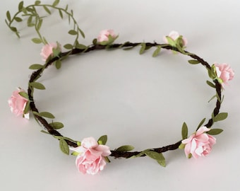 Pink Floral Crown, Festival Wedding, Flower Girl Floral Crown, Pink Flower Garland, Wedding Headband, Bachelorette Party, Maternity Shoot
