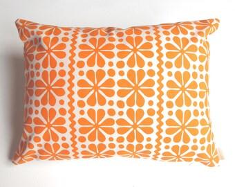 Parade screen printed pillow cover in orange