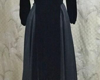 Stunning Black Velvet Evening Gown With Velvet Jacket, Black Ball Gown