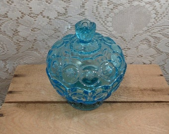 L. E. Smith Moon and Stars compote candy dish blue footed covered bowl candy dish