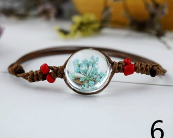 Dried flowers  specimens bracelet glass ball Adjust ball cord One of a Kind