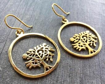 Round tree earrings, brass tree earrings, long tree earrings, long nature earrings