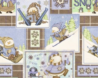 Snow Much Fun Snowmen Squares Flannel Fabric 1 Yard