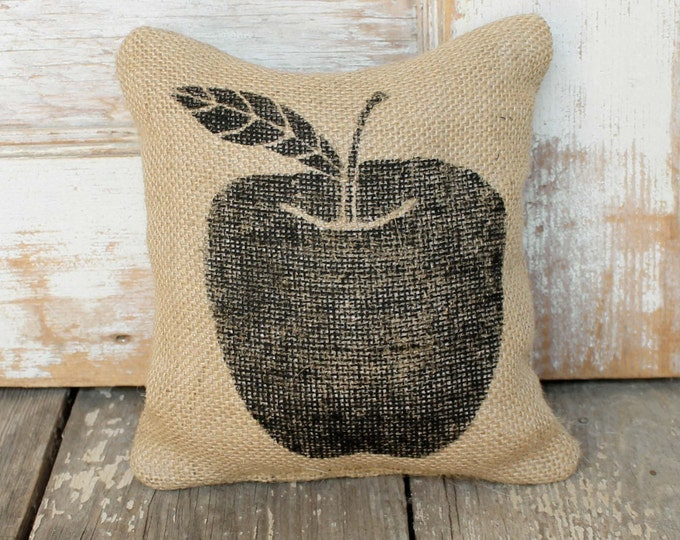 Apple  -  Burlap Feed Sack Doorstop - Apple Decor - Apple Decoration - Teacher Gift - Fall Decor - Autumn Decor  - Apple Silhouette
