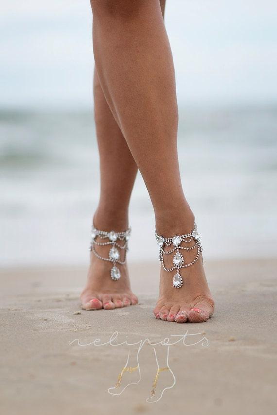 Rhinestone Anklet Bridal Barefoot Sandals Boho Slave Anklet