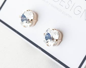 SALE Swarovski Crystal Rose Gold Stud Earrings