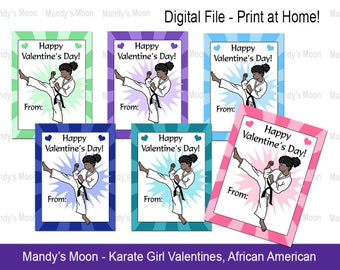 Karate / Martial Arts Girl Valentines - African American - Digital File, Print at home Valentine Cards