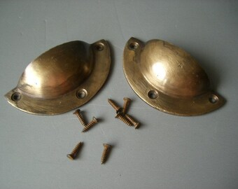 Solid Brass Hardware. Rustic, industrial salvage, Shell Pulls / Handles.