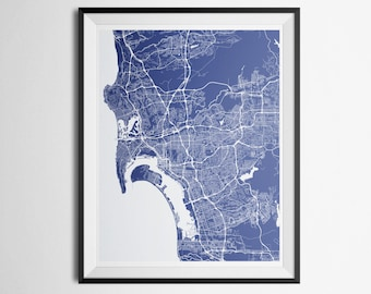 Print of San Diego Metro Area Abstract Street Map
