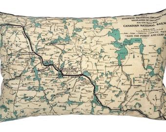 Algonquin Park Vintage Map Pillow - FREE SHIPPING