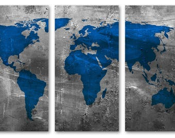 Framed world map etsy framed 60x40 20x40 each panel overstock sapphire blue world map gumiabroncs Gallery
