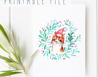 2 PRINTABLE Christmas Cards | Watercolor Illustration, Cute Holiday Cards, Greeting Card Printables, DIY Gift Cards, Cat Portrait, Download