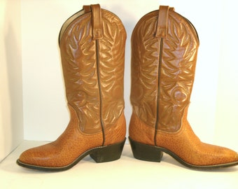 """Caramel Brown Leather JCW Western Boots Textured Faux Ostrich Shoe Top Stitching Welted 2"""" Stacked Heel Cowboy Work Play Womens US Size 6"""