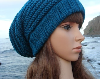 Hand Knit Striped Slouchy Hat Pattern with fold up brim, Knit Striped Slouchy, Knit Slouchy, Sea-breeze Striped Slouchy
