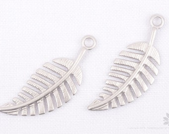 P709-MR// Matt Rhodium Plated Leaf Pendant, 4 pcs