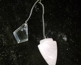 Rose quartz pendulum with clear quartz