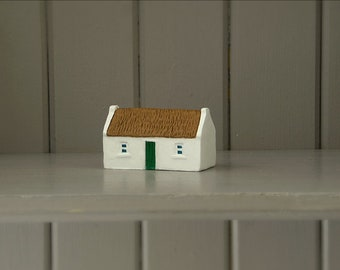 Miniature Irish cottage ornament. Heritage gift handmade and hand painted in Ireland.