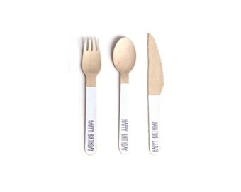 Happy Birthday Wooden Cutlery -Set of 24 White and Black Wooden Forks, Spoons or Knives- The perfect touch for any birthday party!