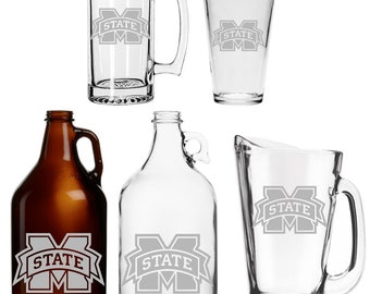 Mississippi State Etched Mug - Glass - Pint - Growler - Pitcher St Basketball