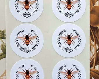 Stickers Bee Wreath - Bee Party Favor Treat Bag Stickers SP004