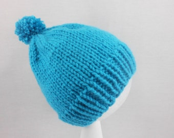Turquoise Baby Hat - Hand Knit Cap Fitting Babies 3 to 6 Months - Soft Acrylic Infant Cap - Blue Infant Beanie - Cold Weather Head Accessory