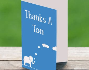 Thanks A Ton, Thank you Card, Elephant Lover Gift,Thanks Friend, Elephant Card, Cute Thank You Card, Unique Thank You Gift, Thank You Gift