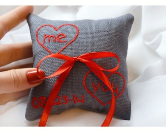 Me & You Embroidered Wedding ring pillow ,Heart wedding pillow ,personalized  ring pillow, ring bearer pillow ,Custom embroidery 4'x4'(LR17)