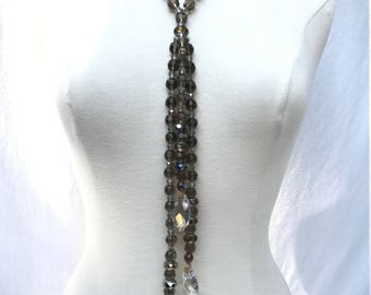 Smoky glass and crystal bead triple pendant necklace