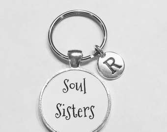 Initial Keychain, Gift For Her, Soul Sisters Keychain, Best Friend Gift, Best Friend Keychain, Sister Gift Keychain, Choose Initial