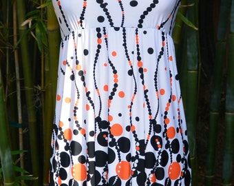 SALE: Vintage Bubbles and Polk-A-Dots Empire Waist Mini Dress