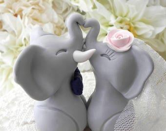 Gray, Navy and Pink Elephants in Love Wedding Cake Topper Custom Personalized Bride and Groom BOHO Keepsake