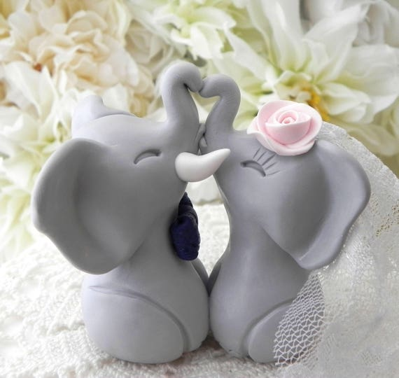 Wedding Cake Topper, Elephants in Love, Gray, Navy and Pink, Bride and Groom Keepsake