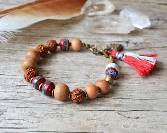 Yoga bracelet, bohemian tassel jewelry, boho chic ethnic jewelry, yoga jewelry, hippie bracelet