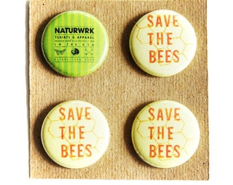 Save The Bees Button Pack - Pin Pack - Bee Button Pack - Bee Buttons - Bee Buttons