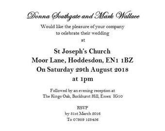 60 Wedding Invitations with envelopes